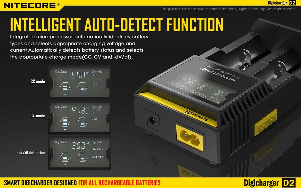 Nitecore Intellicharger I2 Li-Ion / NiMH Laddare laddar batteriet optimalt