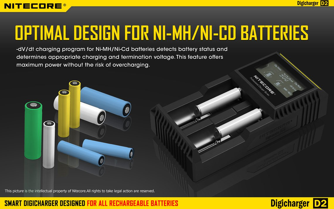 Nitecore Intellicharger D2 Li-Ion / NiMH smart universalladdare