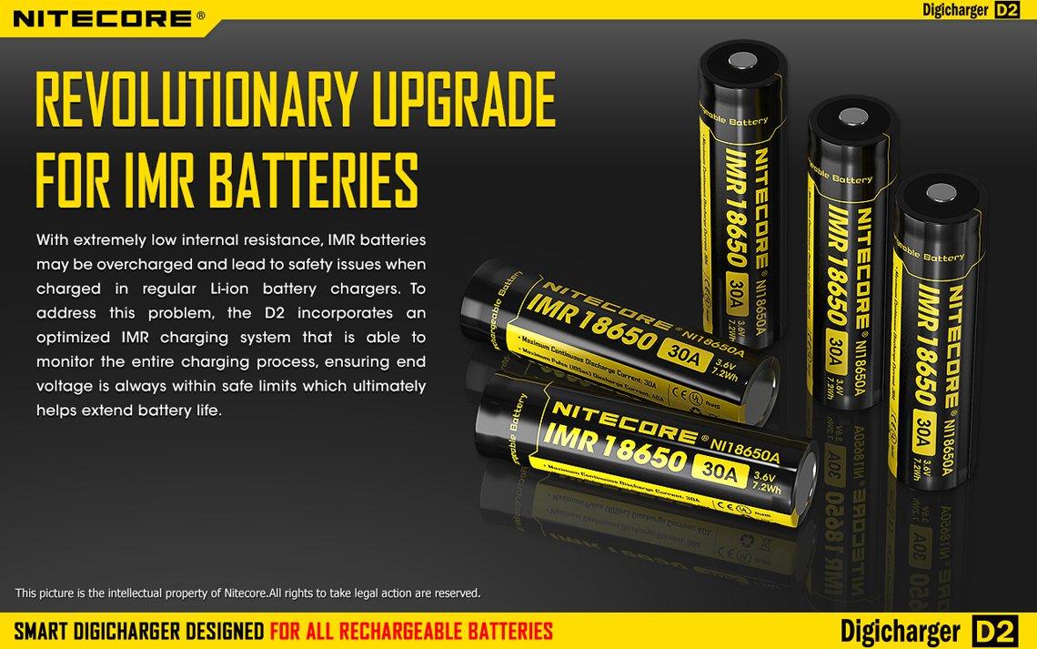 Nitecore Intellicharger D2 LCD snabbladdare upptäcker själv batterityp