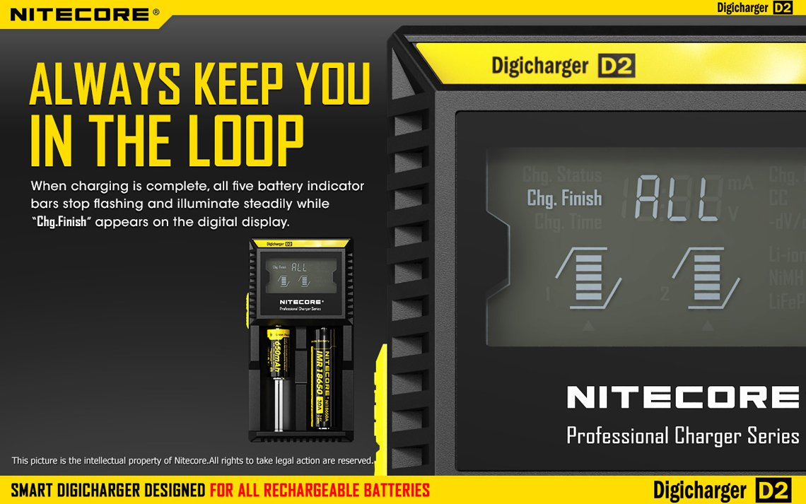 Nitecore Intellicharger D2 Li-Ion / NiMH Laddare med automatisk tidstagning
